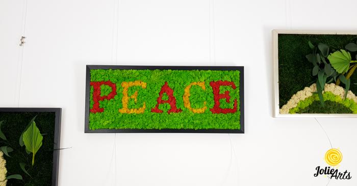 Tablou mesaj, logo personalizat cu licheni naturali stabilizati, dimensiune 30 x 70 cm [2]