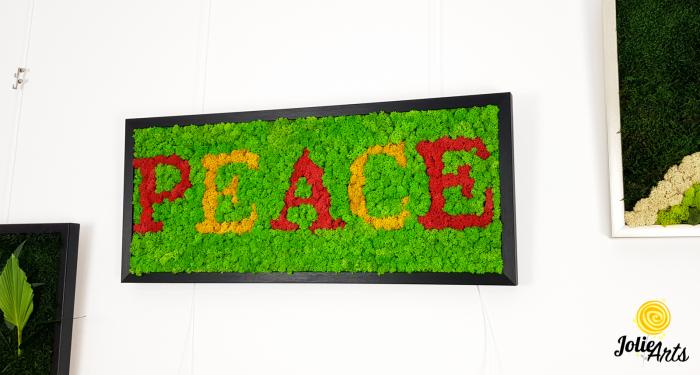 Tablou mesaj, logo personalizat cu licheni naturali stabilizati, dimensiune 30 x 70 cm [3]