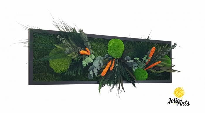 Tablou muschi si plante naturale stabilizate, Model Green Day - Orange touch [0]
