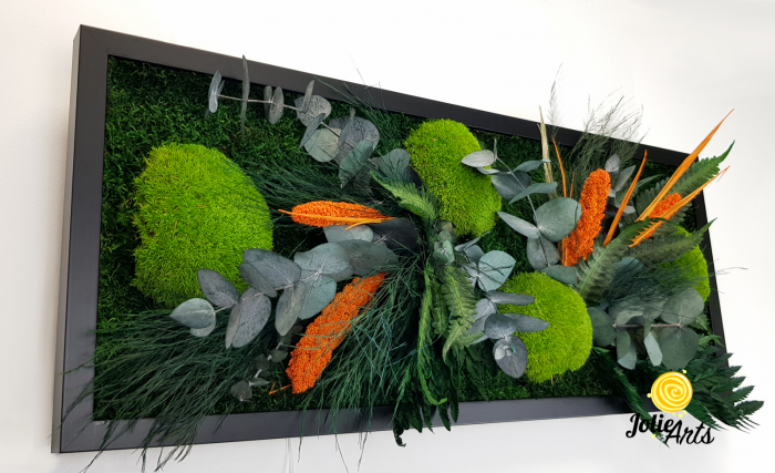 Tablou muschi si plante naturale stabilizate, Model Green Day - Orange touch [4]