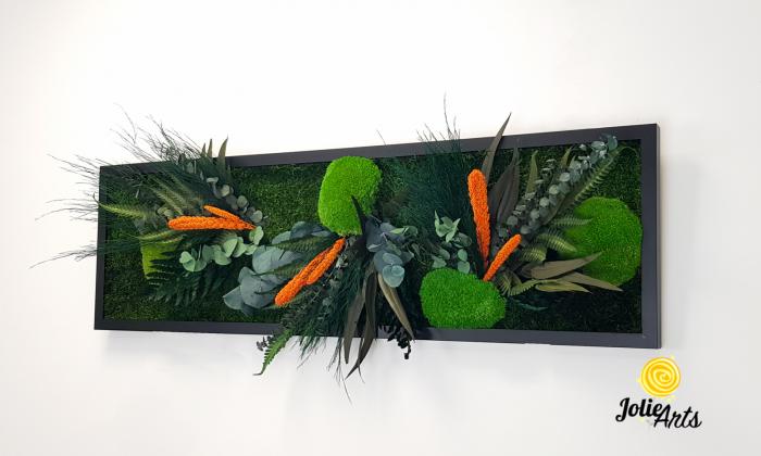 Tablou muschi si plante naturale stabilizate, Model Green Day - Orange touch [1]