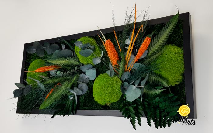 Tablou muschi si plante naturale stabilizate, Model Green Day - Orange touch [5]