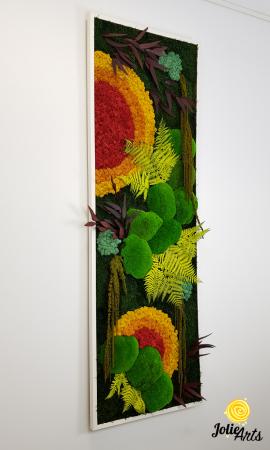 Tablou licheni, muschi si plante stabilizate, Model Soare, design vertical, Jolie Arts [3]