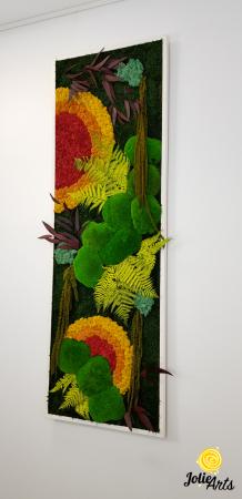 Tablou licheni, muschi si plante stabilizate, Model Soare, design vertical, Jolie Arts [1]
