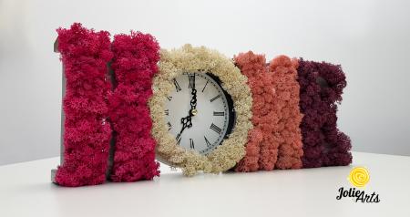 Ceas de perete decorat cu licheni naturali [0]