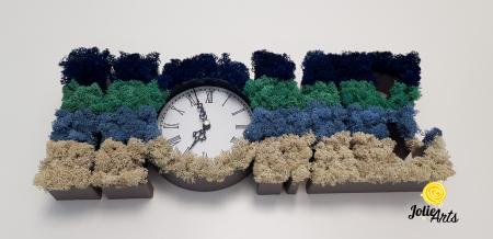 Ceas de perete decorat cu licheni naturali Jolie Arts, 40 x 15 cm [1]