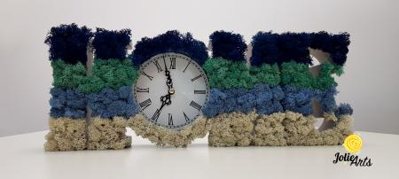 Ceas de perete decorat cu licheni naturali Jolie Arts, 40 x 15 cm [2]