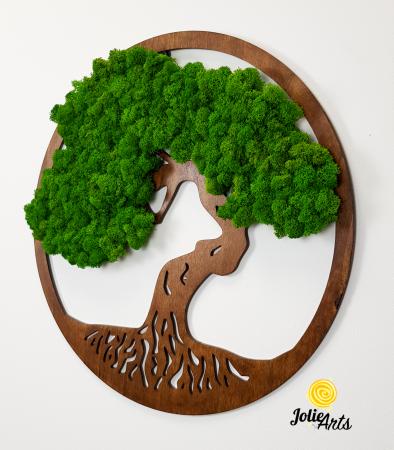Copacul vietii decorat cu licheni naturali stabilizati, suport culoare maro [5]