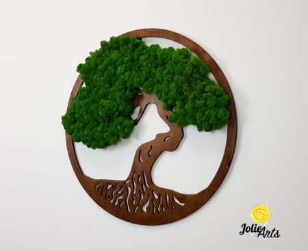 Copacul vietii decorat cu licheni naturali stabilizati, suport culoare maro [1]
