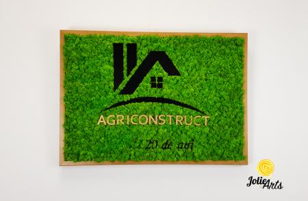 Logo Agriconstruct decorat cu licheni naturali stabilizati [2]
