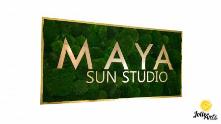 Logo Maya, dimensiune 60 x 120 cm,  muschi bombati verde inchis, Jolie Arts, www.tablouriculicheni.ro-7 [0]