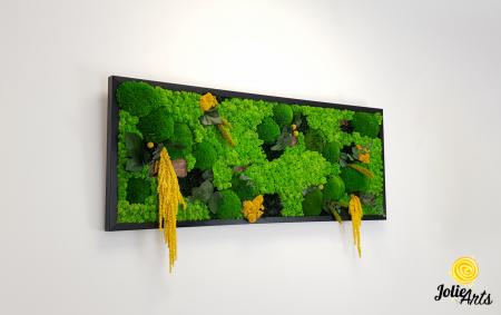Tablou licheni, muschi si plante naturale stabilizate, Model Amaranthus galben, 40 x 100 cm, rama neagra, Jolie Arts, www.tablouriculicheni.ro-3 [3]