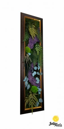 Model Amazon, insertii purple, rama patinata maro cu insertii aurii, 40 x 150 cm, tablou licheni, Jolie Arts, www.tablouriculicheni.ro-2 [0]