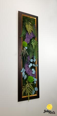 Model Amazon, insertii purple, rama patinata maro cu insertii aurii, 40 x 150 cm, tablou licheni, Jolie Arts, www.tablouriculicheni.ro-2 [3]