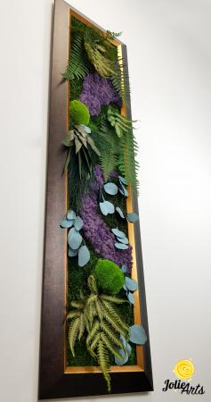 Model Amazon, insertii purple, rama patinata maro cu insertii aurii, 40 x 150 cm, tablou licheni, Jolie Arts, www.tablouriculicheni.ro-2 [5]