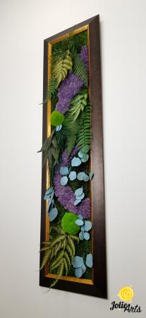 Model Amazon, insertii purple, rama patinata maro cu insertii aurii, 40 x 150 cm, tablou licheni, Jolie Arts, www.tablouriculicheni.ro-2 [1]