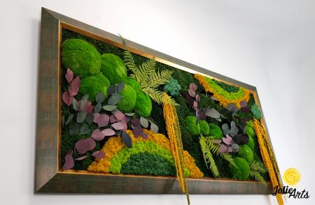 Tablou licheni, muschi si plante stabilizate, Model Curcubeu Galben, rama personalizata [3]