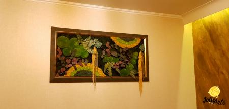 Tablou licheni, muschi si plante stabilizate, Model Curcubeu Galben, rama personalizata [5]