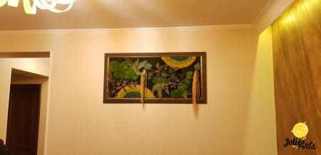Tablou licheni, muschi si plante stabilizate, Model Curcubeu Galben, rama personalizata [7]