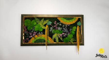 Tablou licheni, muschi si plante stabilizate, Model Curcubeu Galben, rama personalizata [1]
