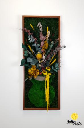 Model Flower Vase, dimensiune 40 x 100 cm, rama neagra, muschi bombati - plati si plante naturale stabilizate, Jolie Arts, www.tablouriculicheni.ro-2 [2]