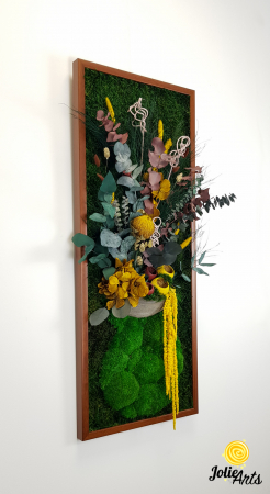 Model Flower Vase, dimensiune 40 x 100 cm, rama neagra, muschi bombati - plati si plante naturale stabilizate, Jolie Arts, www.tablouriculicheni.ro-2 [3]