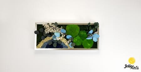 Tablou licheni, muschi si plante naturale stabilizate. Model Soare alb cu albastru, Jolie Arts, www.tablouriculicheni.ro-2 [2]