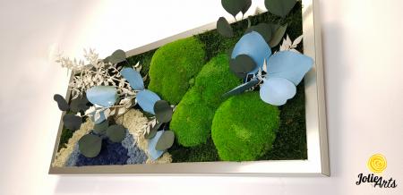 Tablou licheni, muschi si plante naturale stabilizate. Model Soare alb cu albastru, Jolie Arts, www.tablouriculicheni.ro-2 [5]