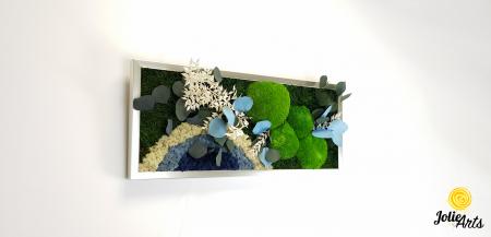 Tablou licheni, muschi si plante naturale stabilizate. Model Soare alb cu albastru, Jolie Arts, www.tablouriculicheni.ro-2 [3]