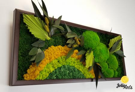 Model Soare, tablou licheni, muschi si plante naturale stabilizate, 30 x 70 cm, rama de culoare maro inchis, Jolie Arts, www.tablouriculicheni.ro-2 [4]