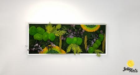 Tablou licheni, muschi si plante naturale stabilizate, Model Curcubeu cu galben, dimensiune 60 x 180, Jolie Arts, www.tablouriculicheni.ro-3 [2]