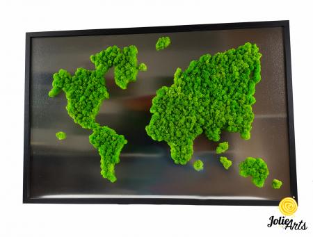Tablou licheni naturali stabilizati, harta lumii, Joie Arts, dimensiune 60 x 90 cm [0]