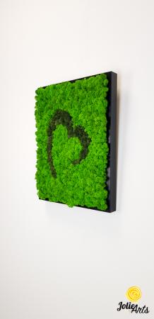 Tablou licheni naturali stabilizati Jolie Arts, model inima stilizata, doua nuante de verde [1]