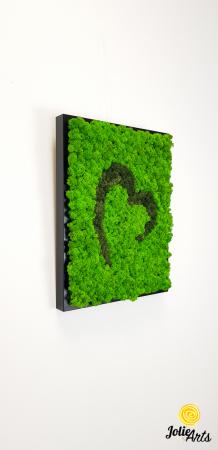 Tablou licheni naturali stabilizati Jolie Arts, model inima stilizata, doua nuante de verde [5]