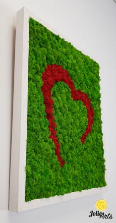 Tablou licheni naturali stabilizati, Model Inima Stilizata Rosie 2 [4]