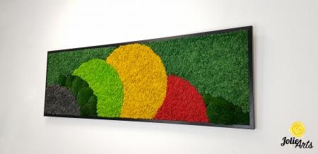 Tablou licheni si muschi naturali stabilizati, Model Jamaica, dimensiune 50 x 150 cm, rama neagra-2 [1]