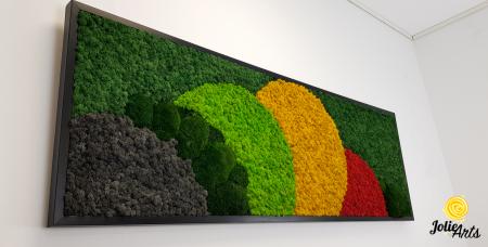 Tablou licheni si muschi naturali stabilizati, Model Jamaica, dimensiune 50 x 150 cm, rama neagra-2 [4]