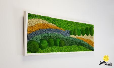 Tablou licheni, tablou muschi de padure, plante stabilizate, Jolie Arts, Model White Pacific [1]
