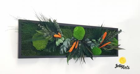 Tablou muschi si plante naturale stabilizate, Model Green Day - Orange touch [3]