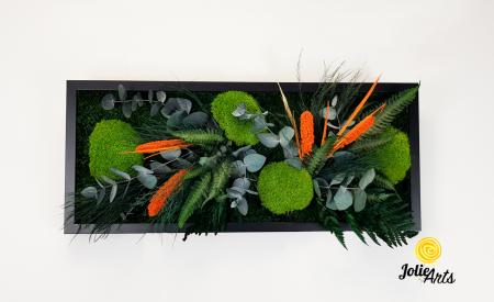 Tablou muschi si plante naturale stabilizate, Model Green Day - Orange touch [2]