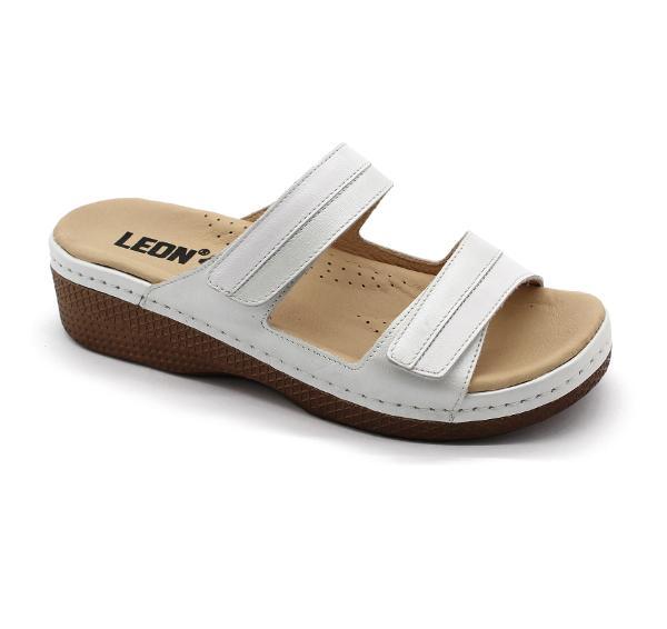 Papuci confortabili dama Leon 410 Alb 0