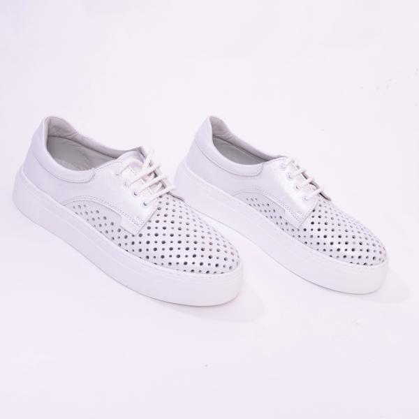 Pantofi casual dama 574 Alb Sidefat 6