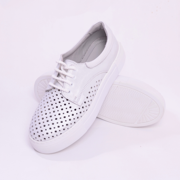 Pantofi casual dama 574 Alb Sidefat 5