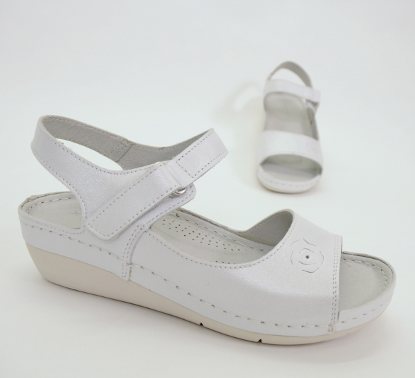 Sandale din piele naturala 257 Alb 1
