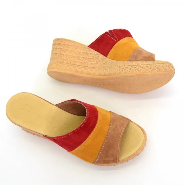 Papuci din piele naturala 304 Color 3