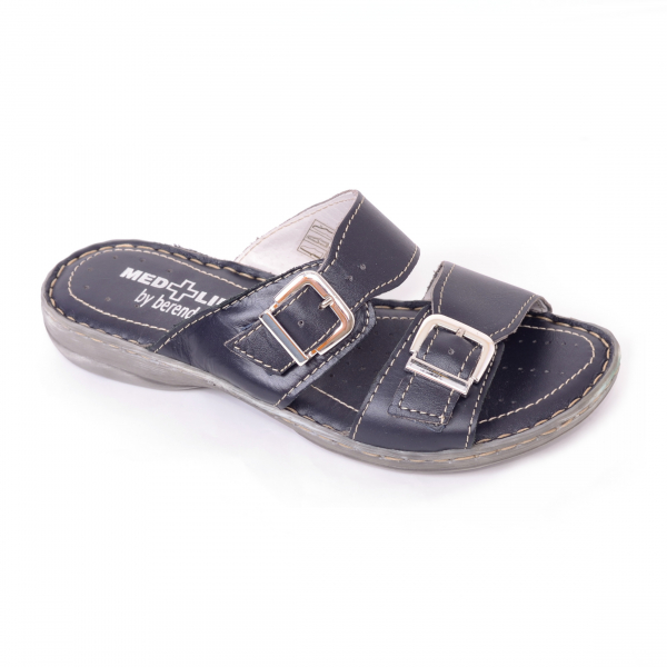 Papuci din piele naturala Medline, 403 Bleumarin 0