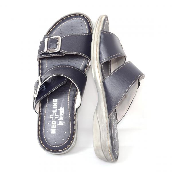 Papuci din piele naturala Medline, 403 Bleumarin 3