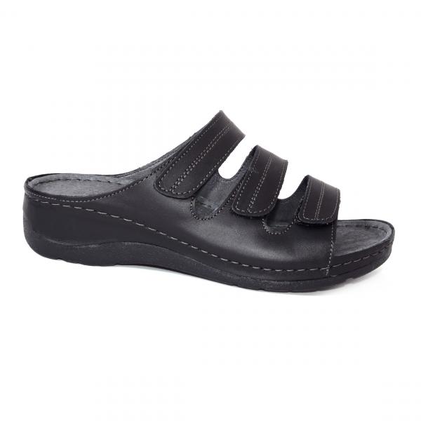 Papuci medicali din piele naturala 255 Negru 1