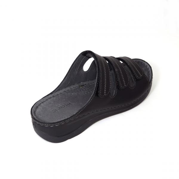 Papuci medicali din piele naturala 255 Negru 2