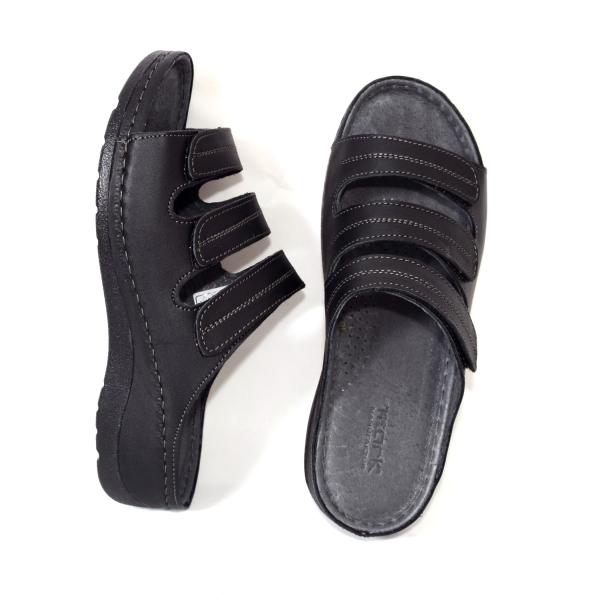 Papuci medicali din piele naturala 255 Negru 3